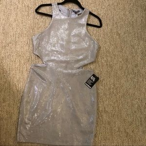 Express Side Cut-Out Silver Dress